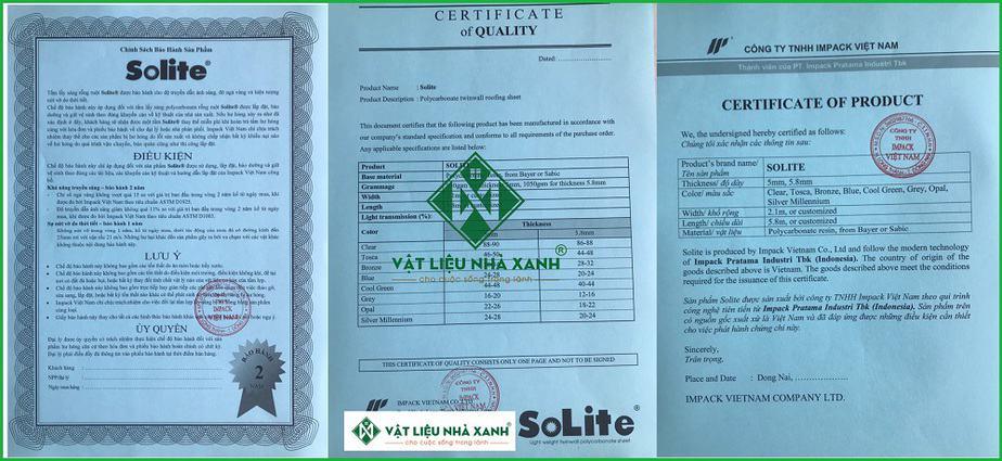 Sản phẩm Vật Liệu Nhà Xanh cung cấp đầy đủ chứng từ CO - CQ và phiếu bảo hành chính hãng
